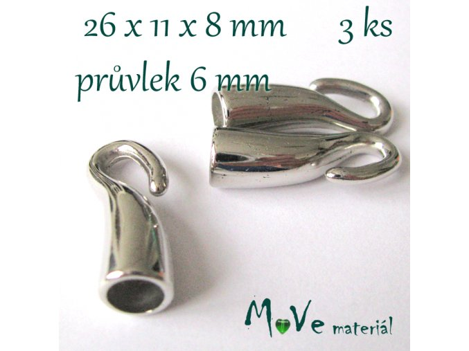Koncovka - háček 26x11x8mm, 3ks, platina