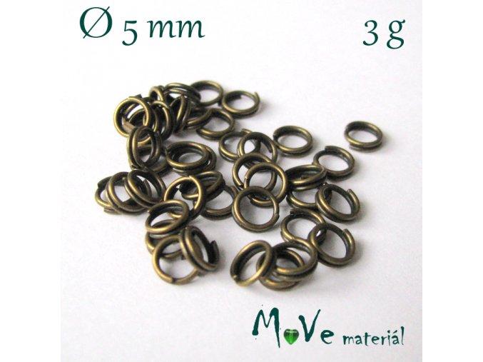 Dvojitý kroužek průměr 5mm, 3g/cca 42ks,staromosaz