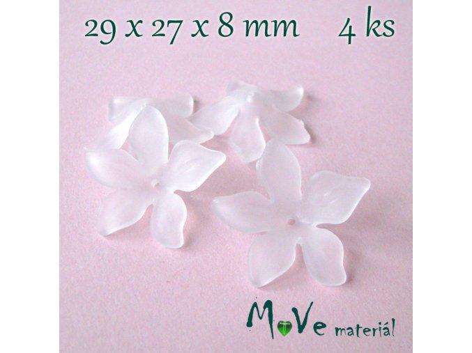 Akrylový květ 29x27x8mm, 4ks, bílý