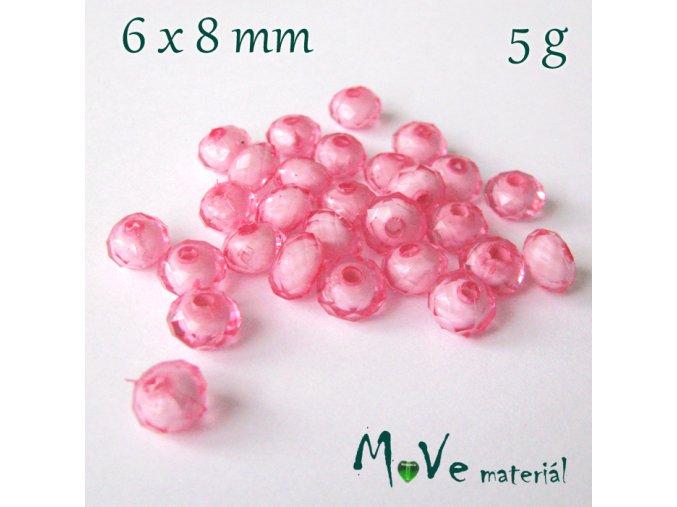 Korálek plast rondelka 6x8mm/5g, růžový