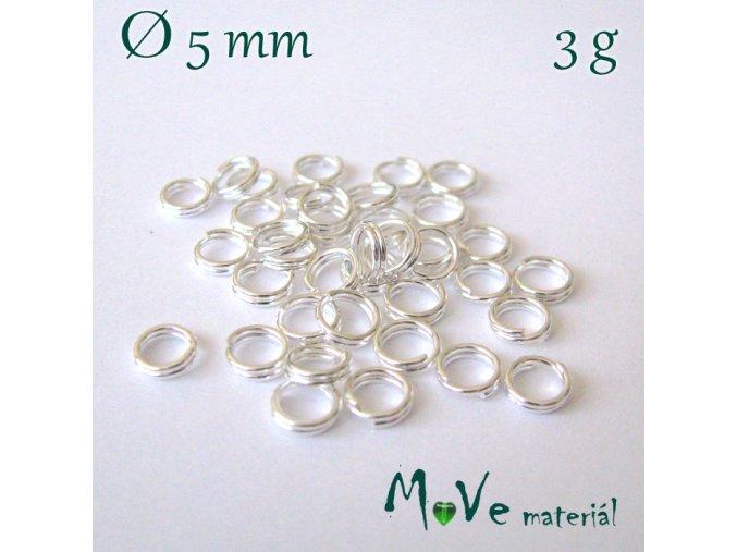 Dvojitý kroužek průměr 5mm, 3g/cca 40ks, stříbrný