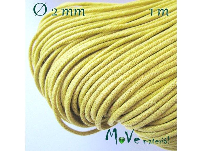 Šňůra voskovaná bavlněná 2mm/1m, žlutá