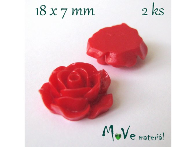 Kabošon růžička lesklá B2a - resin - 2ks, červená