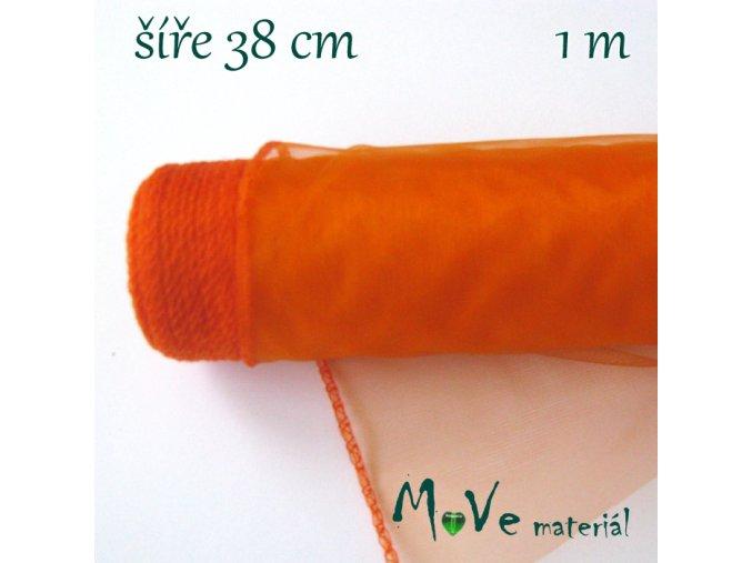 Organza š. 38 cm/ 1m, oranžová