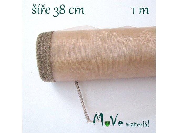 Organza š. 38 cm/ 1m, starorůžová
