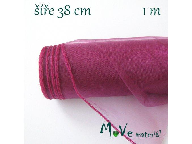 Organza š. 38 cm/ 1m, fuchsiová