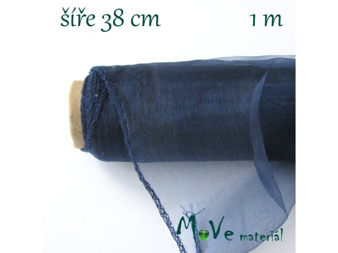 Organza š. 38 cm/ 1m, tm. modrá