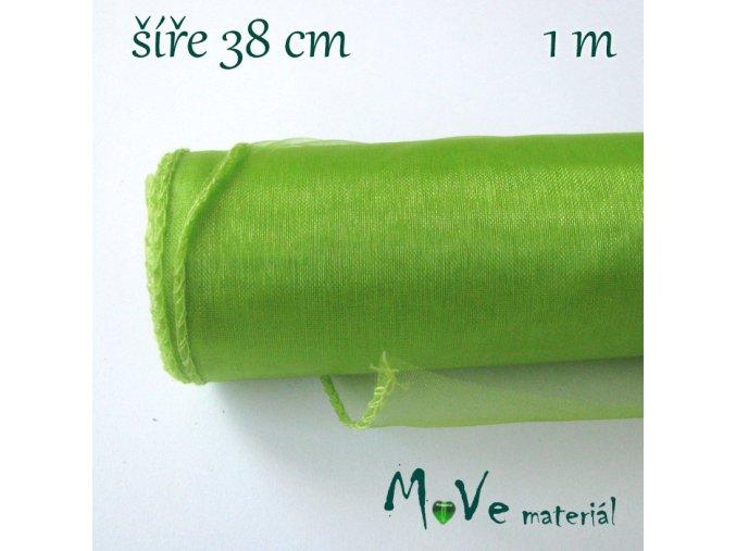 Organza š. 38 cm/ 1m, sv. zelená