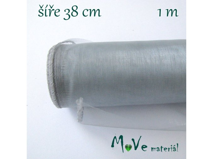 Organza š. 38 cm/ 1m, šedomodrá
