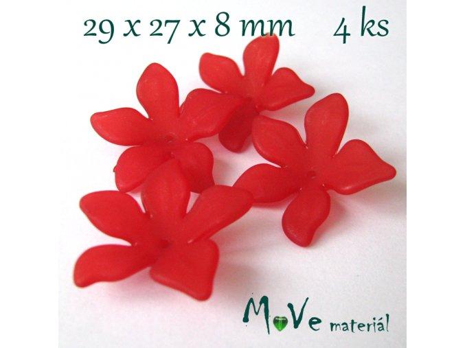 Akrylový květ 29x27x8mm, 4ks, červený