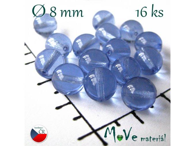 České korálky modré 8 mm 16 ks