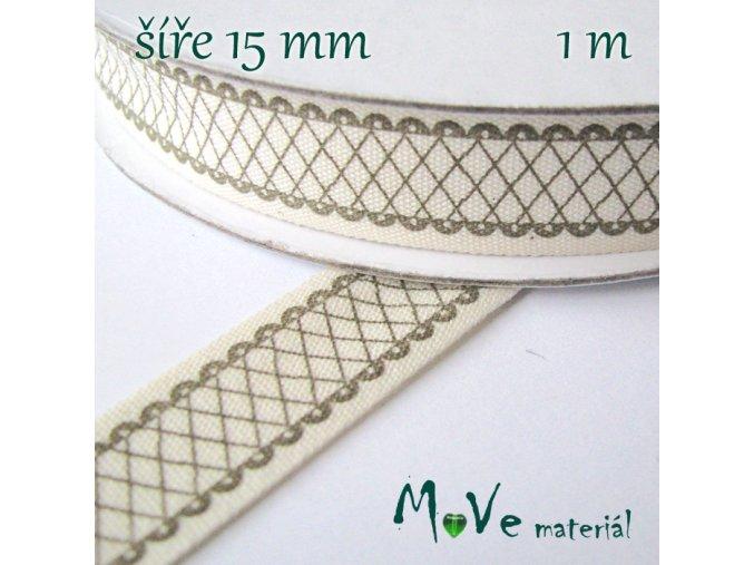 Bavlněná stuha s potiskem 15mm, 1m, ecru