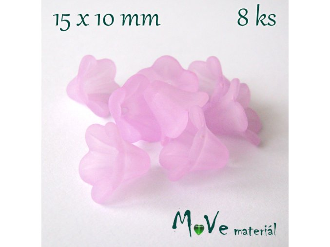 Zvonečky transparentní 15x10mm, 8ks, růžovofialové