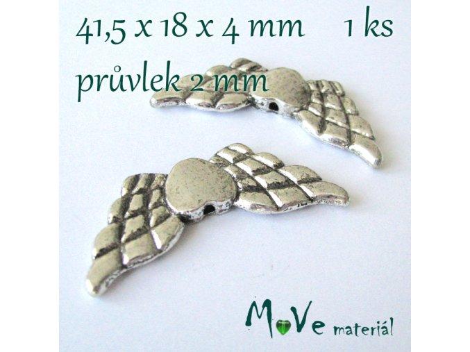 Korálek kovový 41,5x18x4mm křídla, 1ks, starostříbrný
