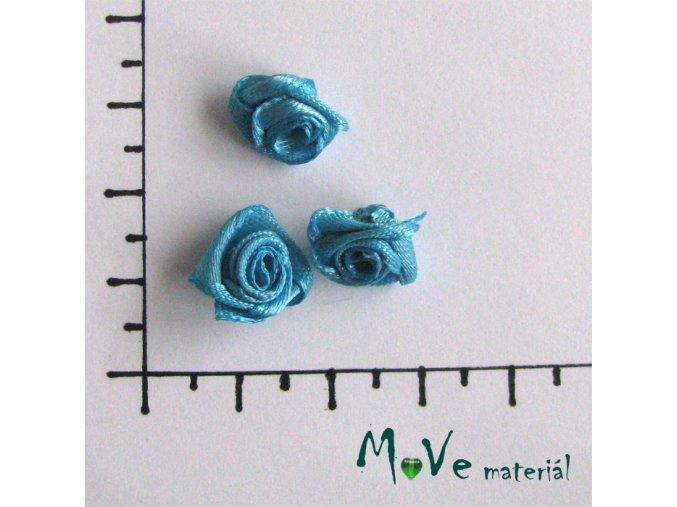 Růžička saténová tyrkysová 12mm, 3kusy