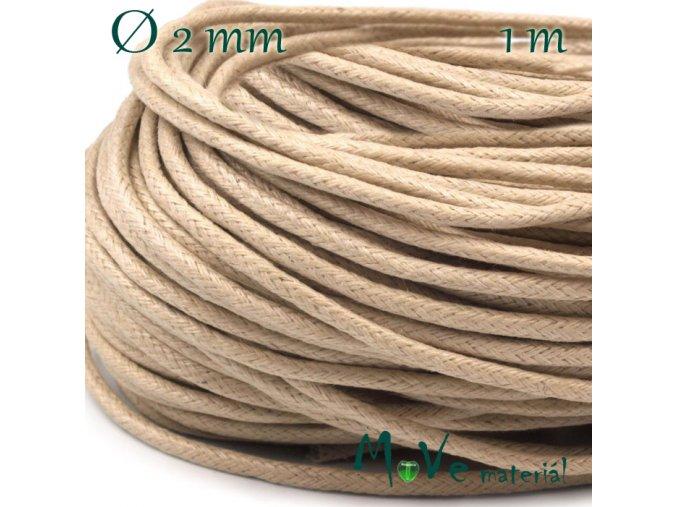 Šňůra voskovaná bavlněná 2mm/1m, béžová