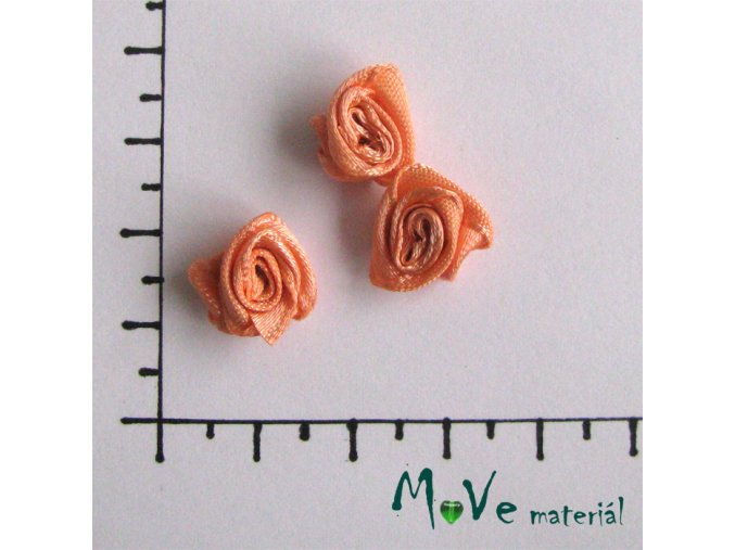 Růžička saténová meruňková 12mm, 3kusy