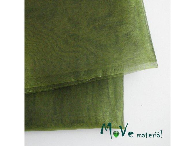 Organza olivová 140cm/ 20 cm -21