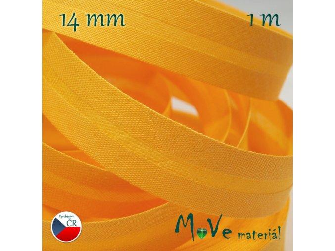 Šikmý proužek bavlna š.14mm zažehlený žlutý