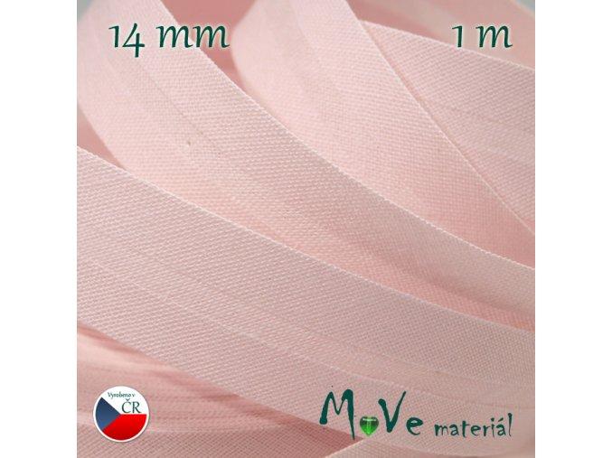 Šikmý proužek bavlna š.14mm zažehlený růžový