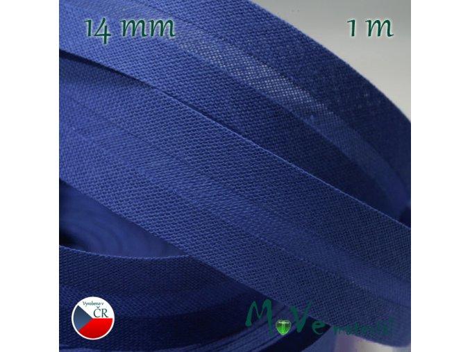 Šikmý proužek bavlna š.14mm zažehlený modrý