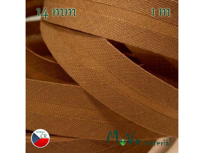 Šikmý proužek bavlna š.14mm zažehlený oříškový