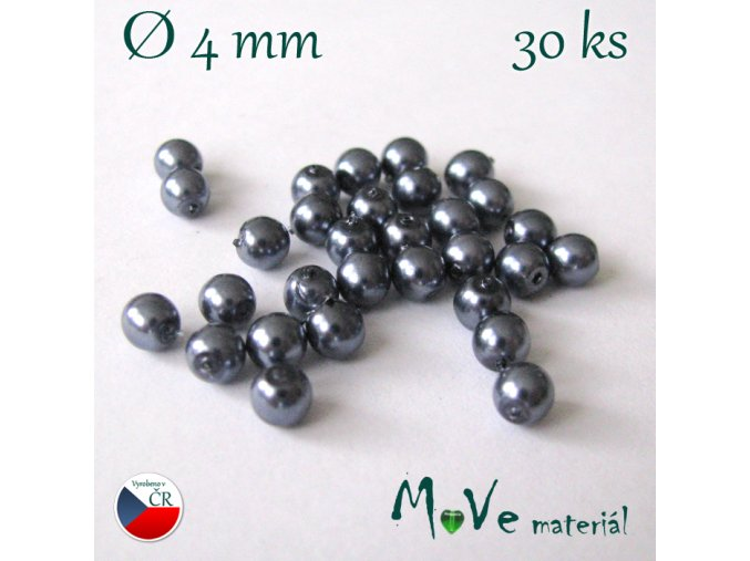 České voskové perle šedé 4mm, 30ks