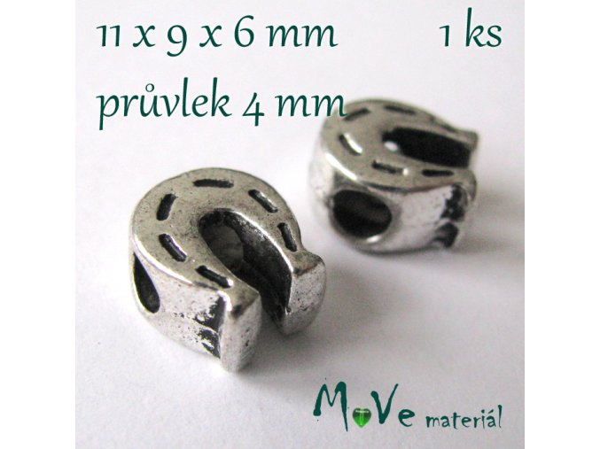 Korálek kovový podkova, 1 kus, starostříbro