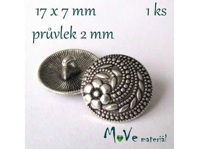 Bižuterní kovový knoflík 17x7mm, 1ks