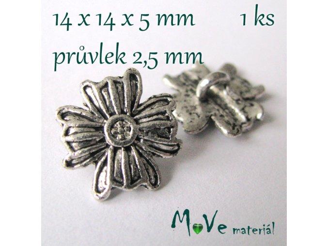 Bižuterní kovový knoflík 14x14x5mm, 1ks