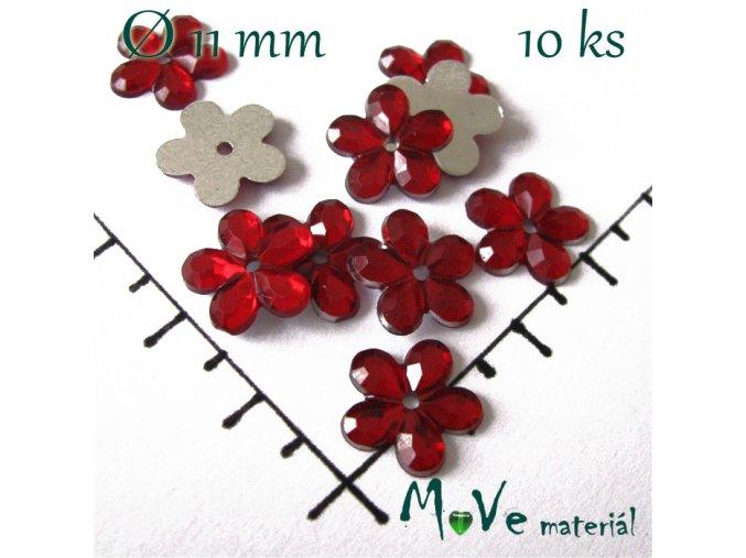 Květina plast 11mm našívací 10 ks červená