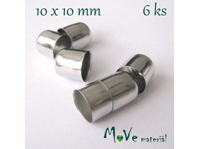 Kaplík 10x10mm hladký, 6ks, platina