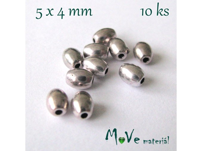 Korálek kovový rýže 5x4mm/10ks, starostříbrný