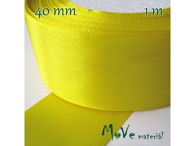 Stuha atlasová jednolící 40mm, 1m, žlutá