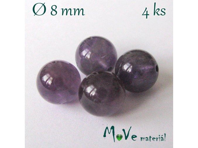 Ametyst - 8mm/4ks, fialový