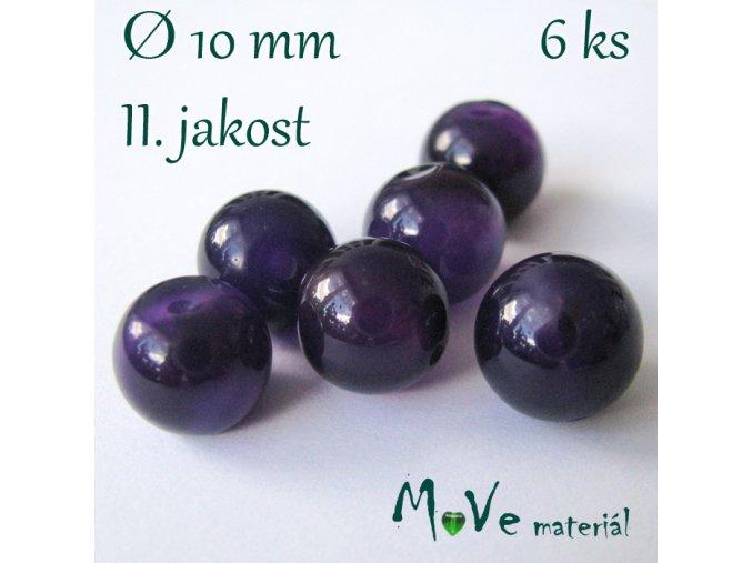 Achát - 10mm/6ks, fialový - II. jakost