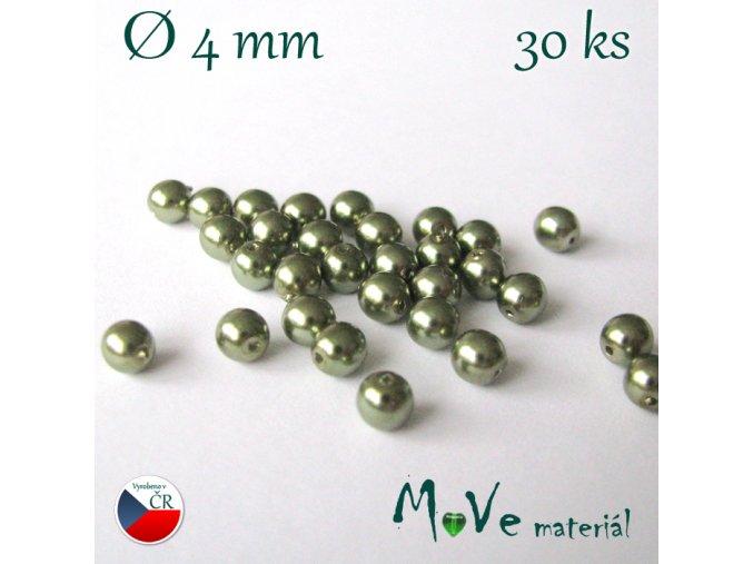 České voskové perle 4mm, 30ks, olivové