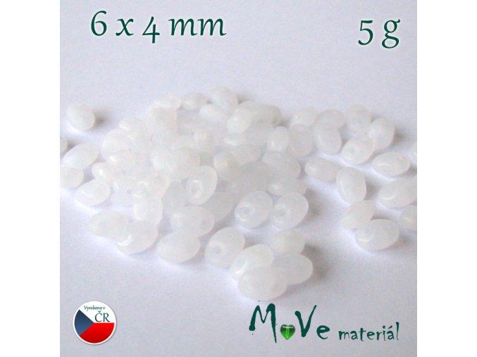 České korálky - superduo 6x4mm, 5g, mléčné