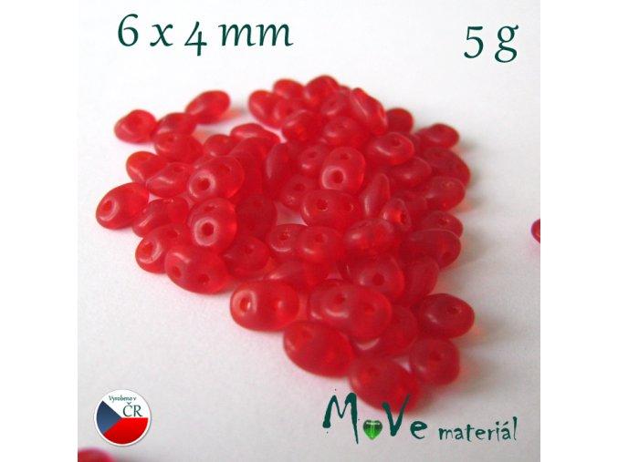 České korálky - superduo 6x4mm, 5g, červené