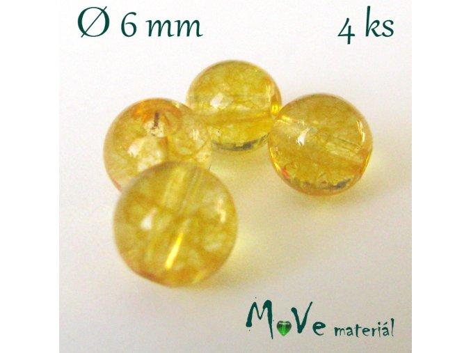Citrín - 6mm/4ks, žlutý