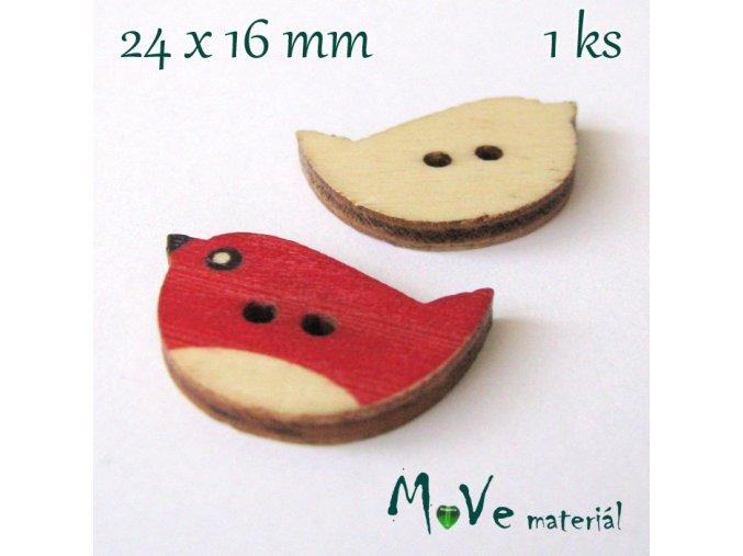 Knoflík dřevěný ptáček 24x16mm, 1ks, červený