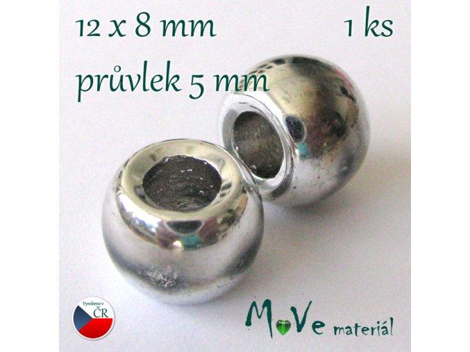Český skleněný korálek 1kus/stříbrný