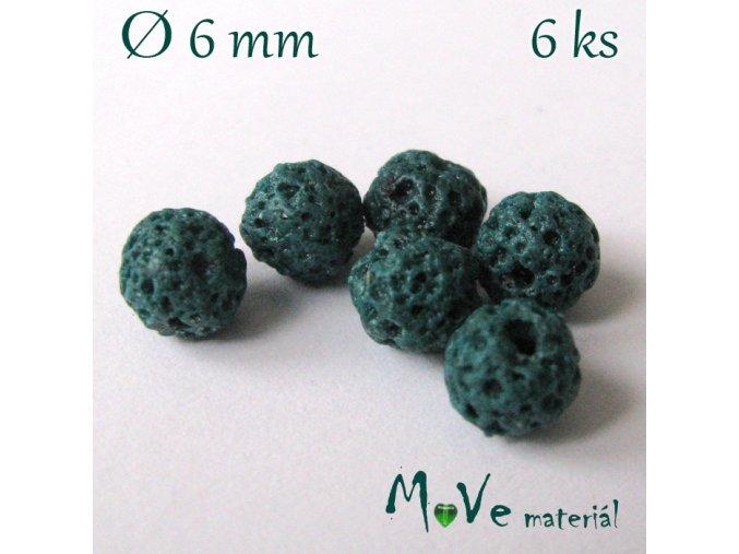 Lávový korálek kulička cca 6mm, 6ks, zelený