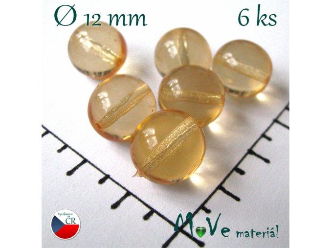 České korálky žluté 12 mm 6 ks