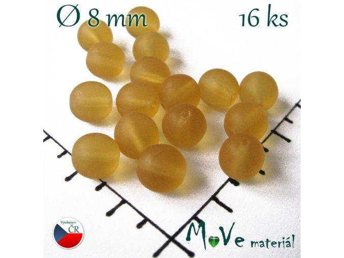 České korálky medové matné 8 mm 16 ks
