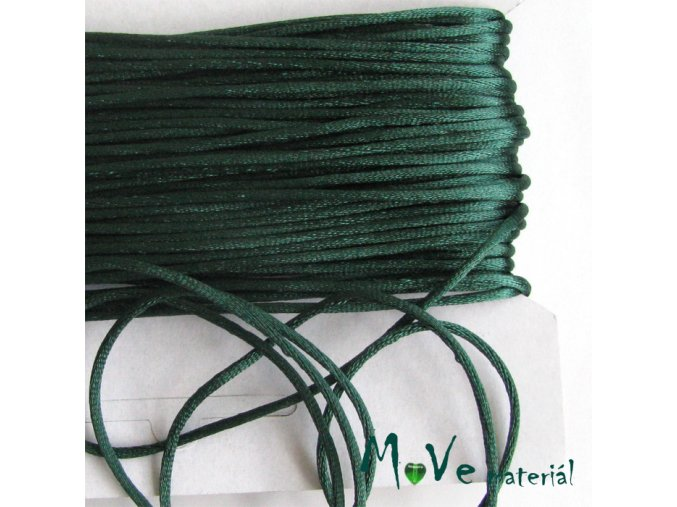 Šňůra 2mm saténová, zelená, 1m