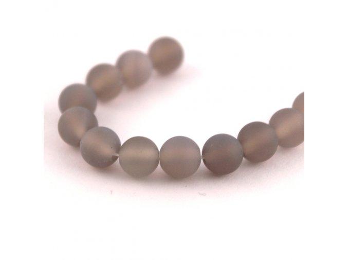 Achát - 6mm/6ks, šedý