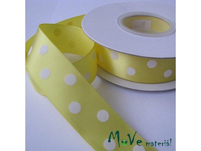 Stuha saténová puntík 22mm 1m, žlutá