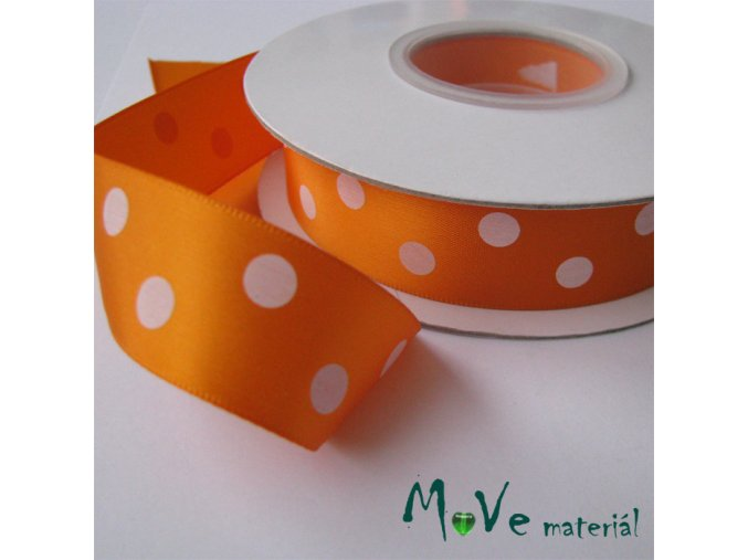 Stuha saténová puntík 22mm 1m, oranžová