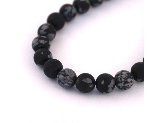 Obsidián vločkový- 6mm/6ks, černý